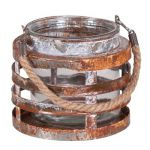 7-718MT-1-CL:  ROUND METAL CANDLE HOLDER 4.5 X 5""