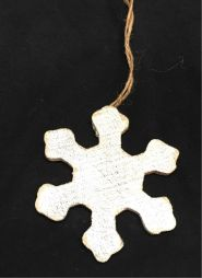 "XA1063:  7.5"" WOOD SNOWFLAKE ORNAMENT"