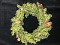 "XP76823:  11"" WHITE SPRUCE RING W/CONES & BERRIES"